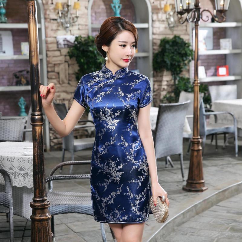 Compre es Del Vestido Chino Tradicional Vestido De Mujer Satén Qipao Mini  Cheongsam Tamaño De La Flor S M L XL XXL XXXL 4XL 5XL 6XL A  22.2 Del  Linglon ... b36d4e77c1cb