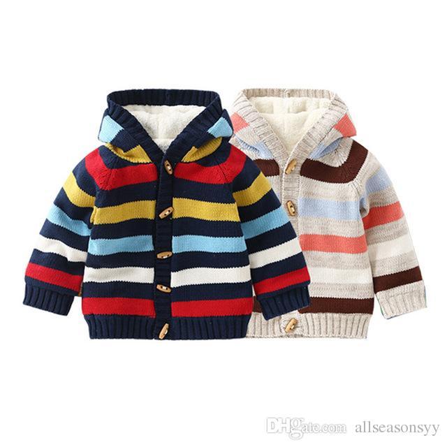 Großhandel Baby Strickjacke Herbst Warm Striped Gestrickte Pullover ...