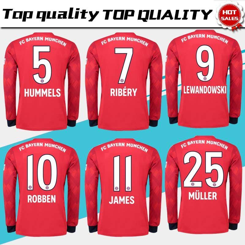 Manga Larga Bayern Munich Home Camiseta De Fútbol 18 19   11 JAMES Camiseta  Roja De Fútbol 2019   25 MULLER   9 LEWANDOWSKI   6 THIAGO Football  Uniforme 3XL ... 4482b2ca432