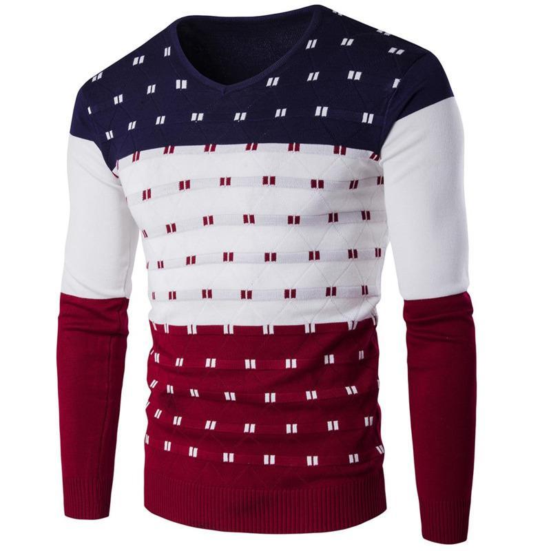 39cdd186b AIRGRACIAS Sweater Men 2018 New Fashion Pullover Sweater Male V-Neck ...