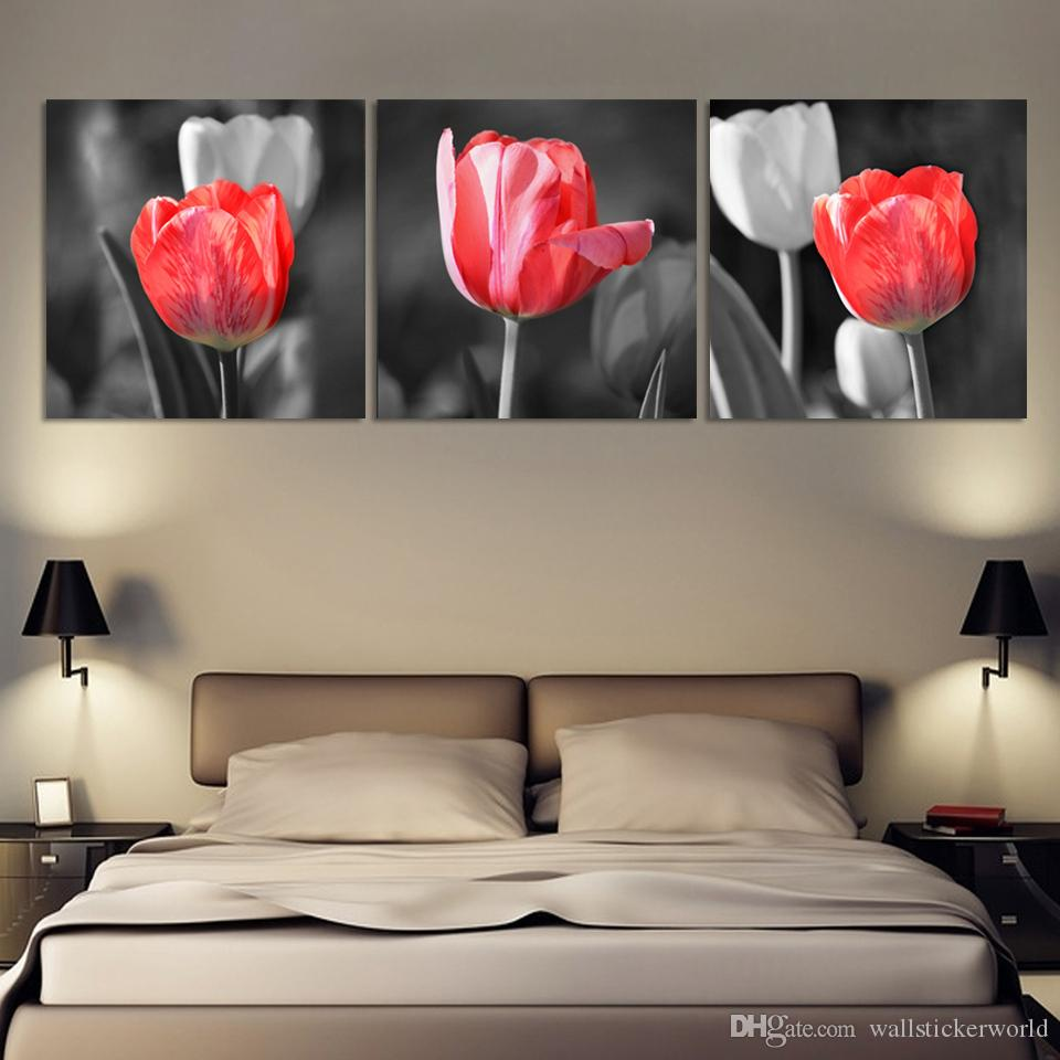 Canvas HD Prints Poster Home Decor Framework Red And Gray Tulip Flower Painting Landscape Pictures Living Room Wall Art