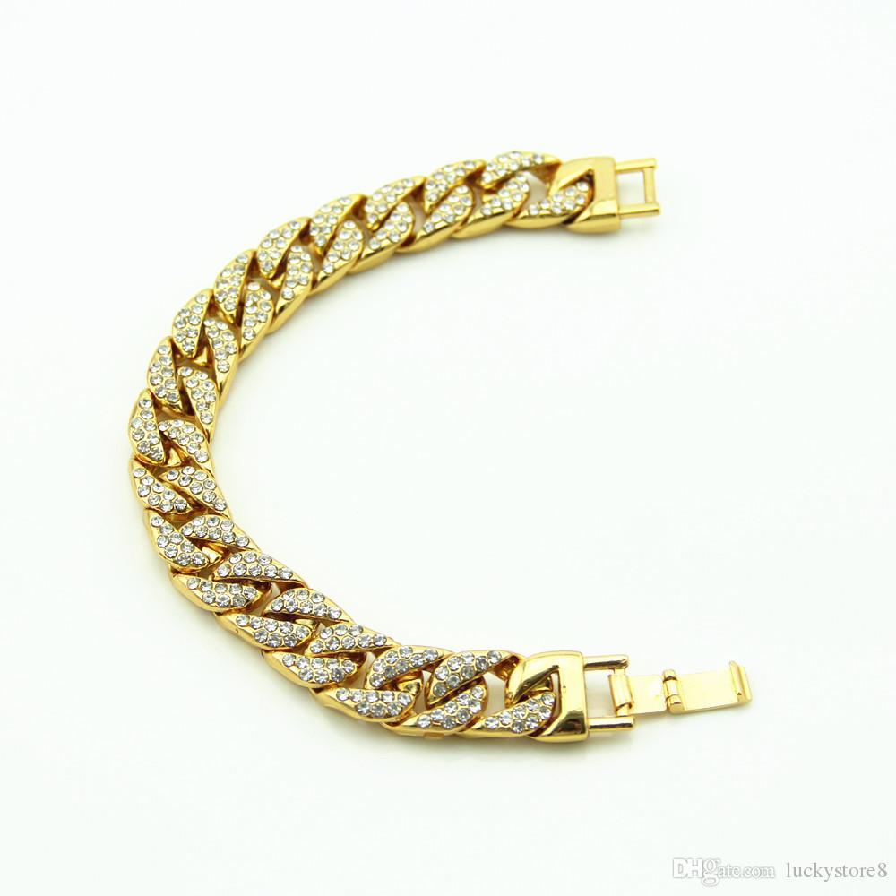 872032faadfe Compre Diamantes De Lujo Simulados Para Hombre Pulseras De Moda ...