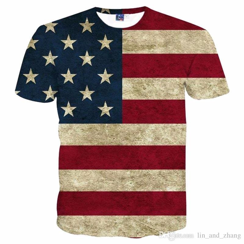 a46f3a414a3fb Acheter 3D T Shirts USA Drapeau T Shirt Hommes / Femmes Sexy 3d T Shirt  Imprimer Rayé Drapeau Américain Hommes T Shirt D'été Tops T Shirts Plus 3XL  4XL De ...