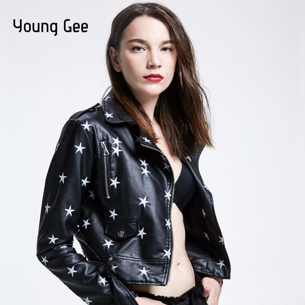 b128ed0c19f Young Gee Faux Leather Jackets Women Zipper Belt Moto Bomber Stars  Embroidery Cool Streetwear Autumn Winter Outwear PU Coats Coats Leather  Jacket From ...