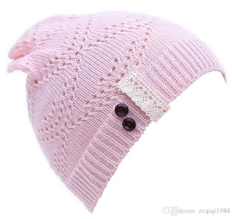 cute Knitted Beanie Hat Lace brim Button Warm Hats Beret Hedging Cap Winter Hat Warm Baggy Wool Crochet Hat