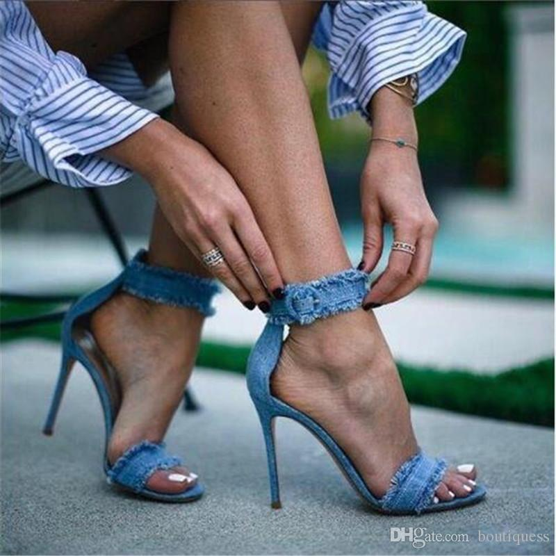 25e4b15854e 2018 Women Spring Summer Fringe Peep Toe Jeans Sandals Girls Denim Ankle  Strap Thin High Cover Heels Shoe Sexy Female Stiletto Wedding Shoes Womens  Loafers ...