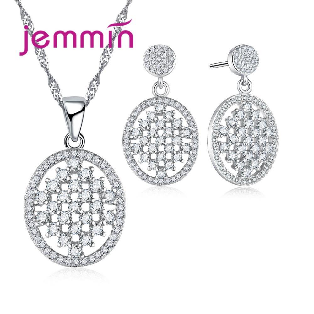 3d7078441b93 Compre Jemmin Hollow Oval Shiny Crystal Colgante Conjunto De Joyas Para  Mujer 925 Collar De Plata Fina Joyería   Pendientes. A  19.04 Del Poety