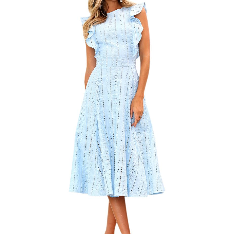 54c158ab1d8 Butterfly Sleeve Lace Hollow Out A Line Dress Summer Women Plus Size Midi  Dresses Girls Sweet Ruffles Sleeveless Sundress GV413 Long Sleeve Casual  Dresses ...
