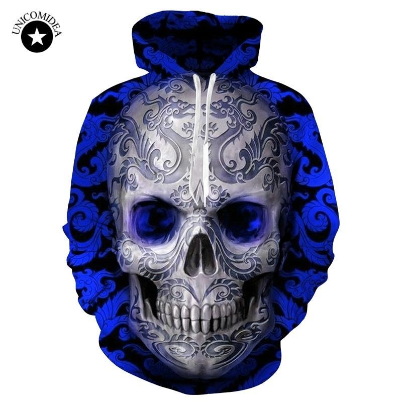 Compre Azul   Rojo 3d Skull Hoodie Hombres Mujeres Moda Verano Otoño Ropa  Deportiva Hip Hop Chándal Marca Sudadera Con Capucha Dropship Y1890303 A   22.78 ... 45e517265ce