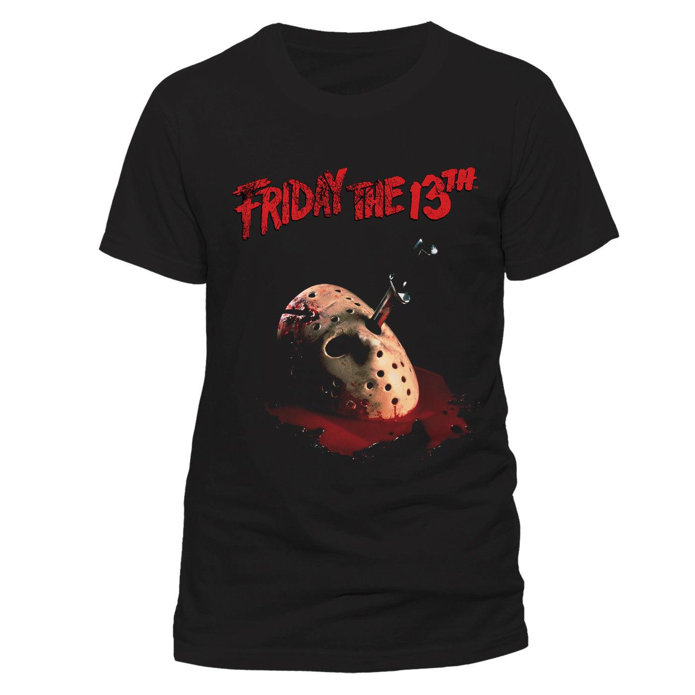 OFFICIAL FRIDAY THE 13TH JASON VOORHEES HOCKEY MASK DAGGER BLACK T SHIRT  NEW Men S Clothing T Shirts Short Sleeve Male Tee Shirt Online Shopping 24  Hour Tee ... 2856b00c76
