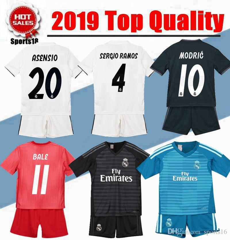 outlet store b4f08 ae343 2019 kids kit Real madrid Goalkeeper Home away Third youth soccer Jersey  ASENSIO MODRIC BALE RAMOS ISCO NAVAS KROOS child Football Shirts