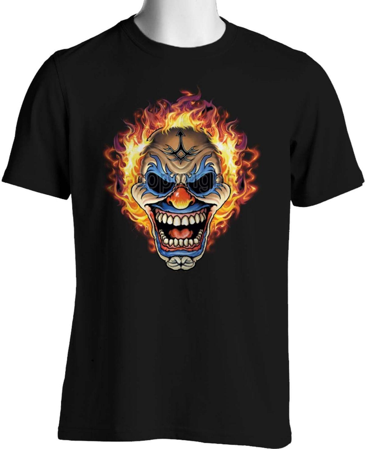 I Hate Clowns T Shirt Flames Circus Scary Clown Evil Face Small To
