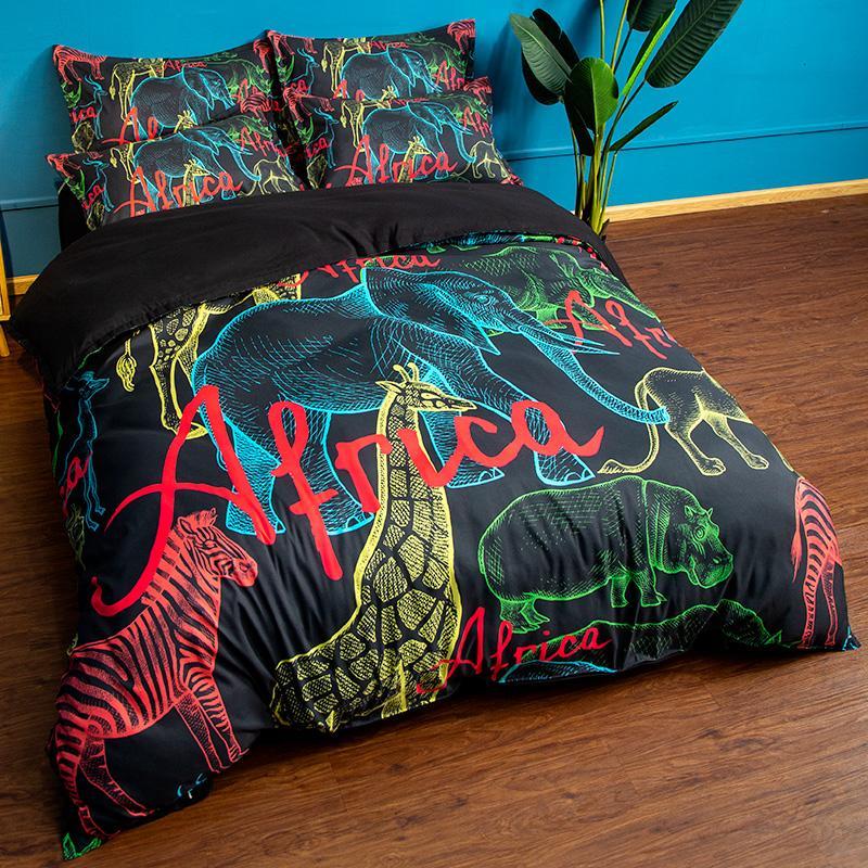 Großhandel 3 Stück Polyester Bettwäsche Sets Bettbezug Afrika Tiere