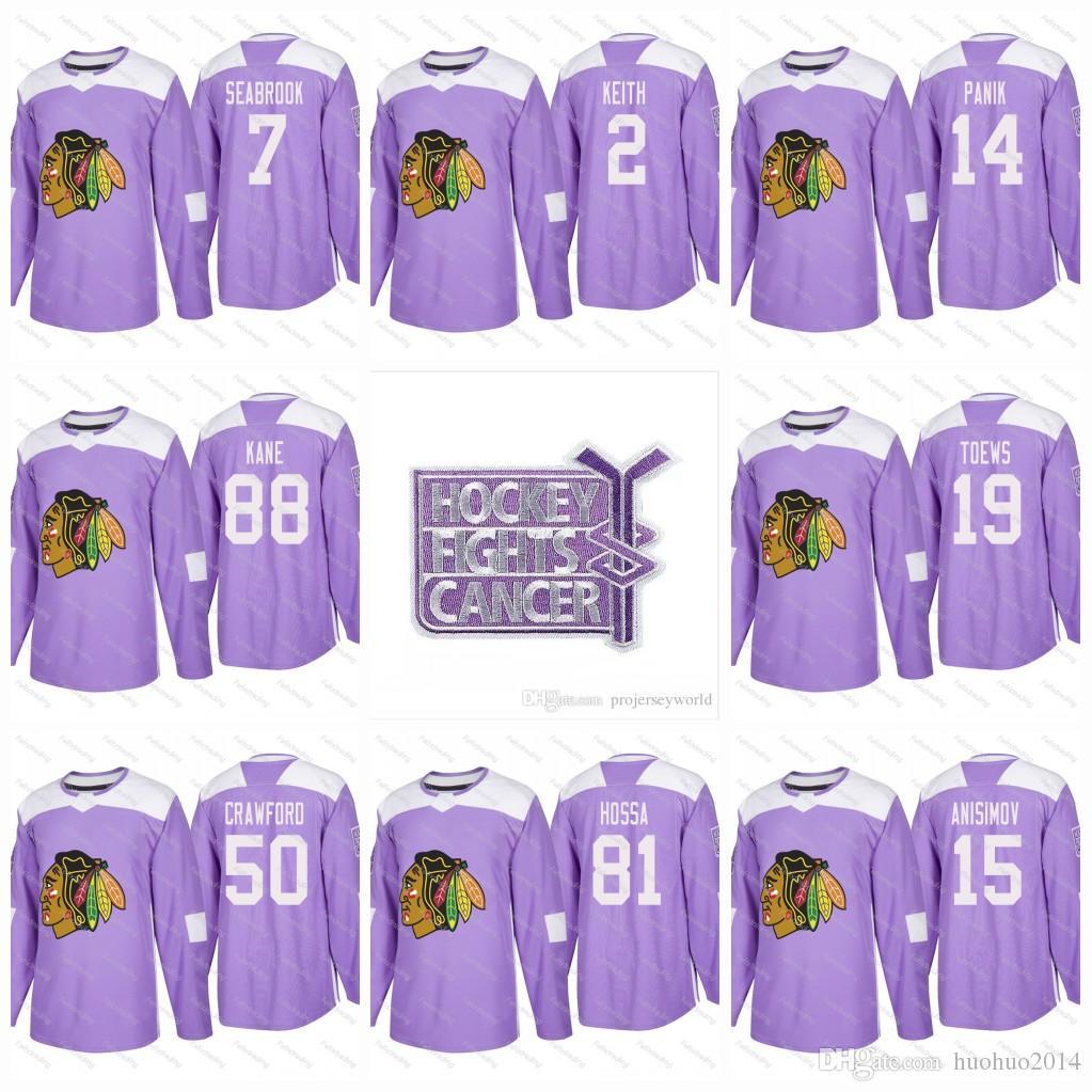 2019 Hockey Fights Cancer Practice Chicago Blackhawks Patrick Kane Jonathan  Toews Duncan Keith Marian Hossa Bobby Hull Saad Purple Jerseys From  Huohuo2014 3cd4628a9
