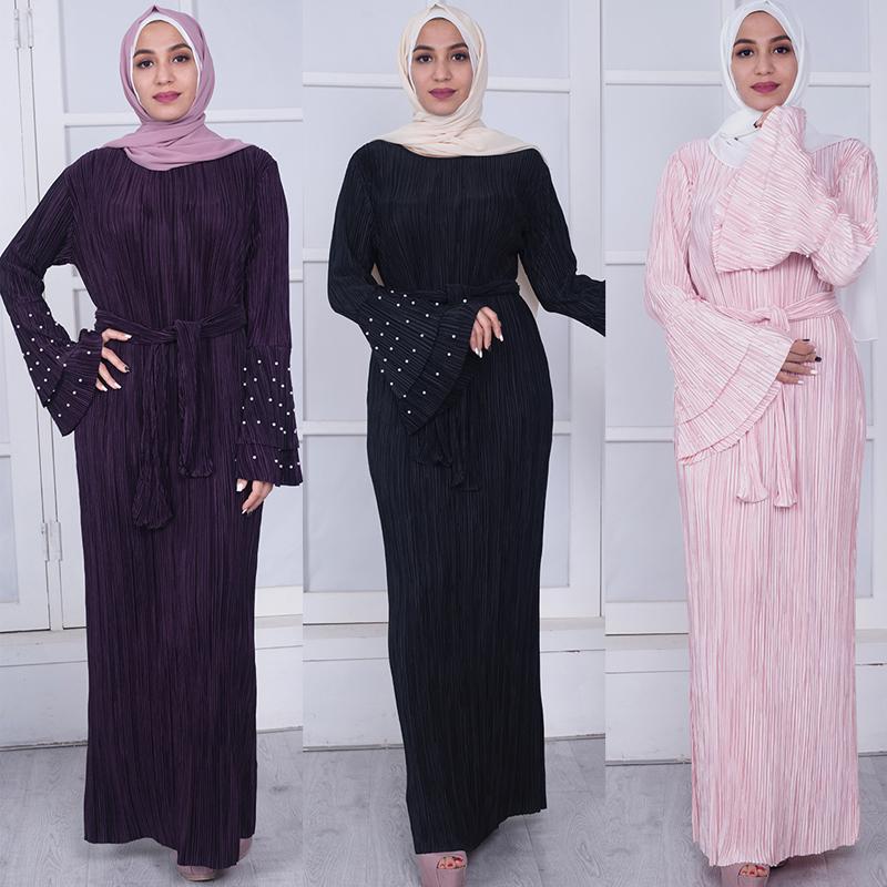 Acheter Émirats Arabes Unis Plus La Taille Abaya Dubaï Bangladesh Musulman  Bandage Moulante Plissé Perle Maxi Hijab Robe Femmes Vêtements De Prière ... b9637e60520