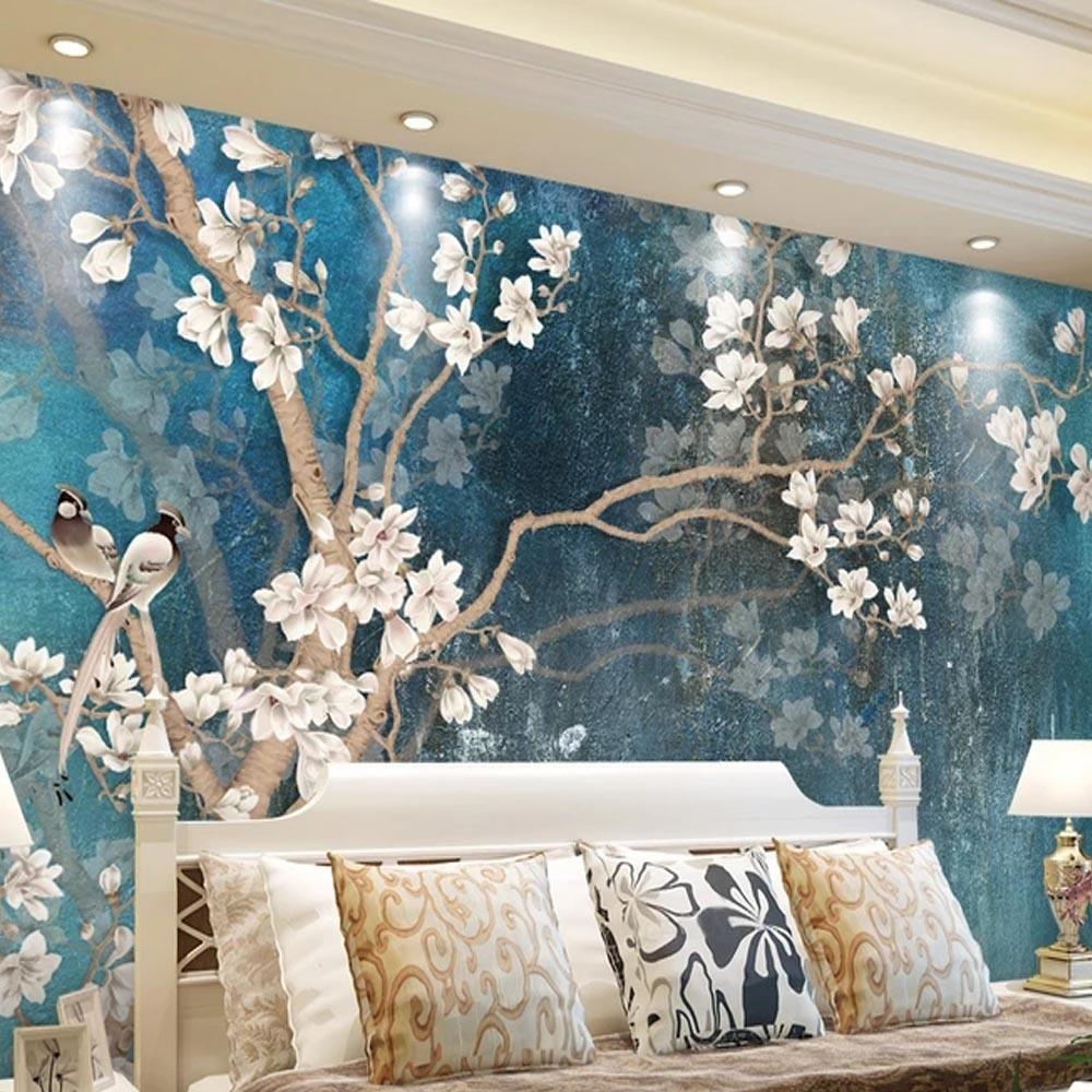 Vintage floral bird photo wallpaper mural flowers wall murals living room tv sofa backdrop wall paper modern home decor room wide wallpaper for mobile wide