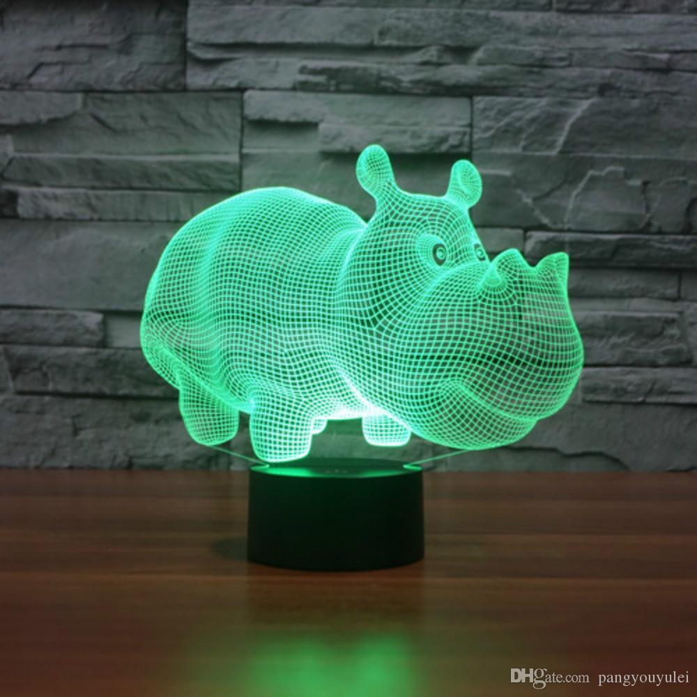 2019 rhinoceros animal diy acrylic 3d lamp night light usb led power bank bedroom wedding decoration drop shipping from pangyouyulei 11 61 dhgate com