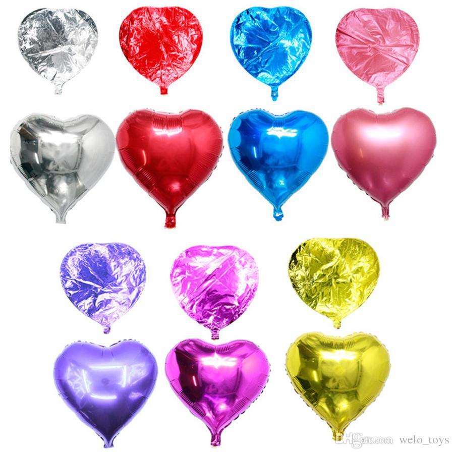 Сердце форма фольги воздушные шары 10 дюймов день рождения украшения шар любовь алюминиевые баллоны для День Святого Валентина подарок 50 шт.
