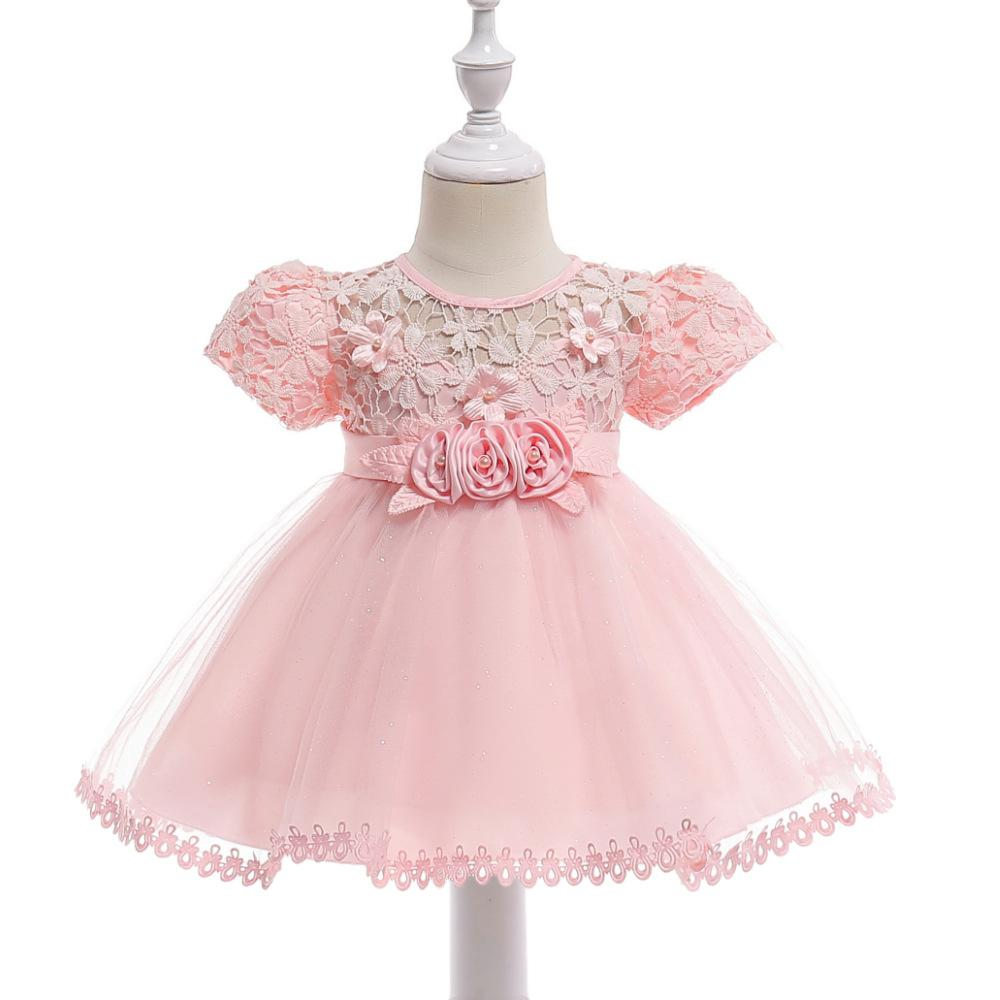 b833644baba 2019 Infant Girls Baptism Party Princess Dress Flowers Mesh Tutu Dresses  Baby Children S Costumes Toddler Short Sleeve Kids Clothing From Bosiju
