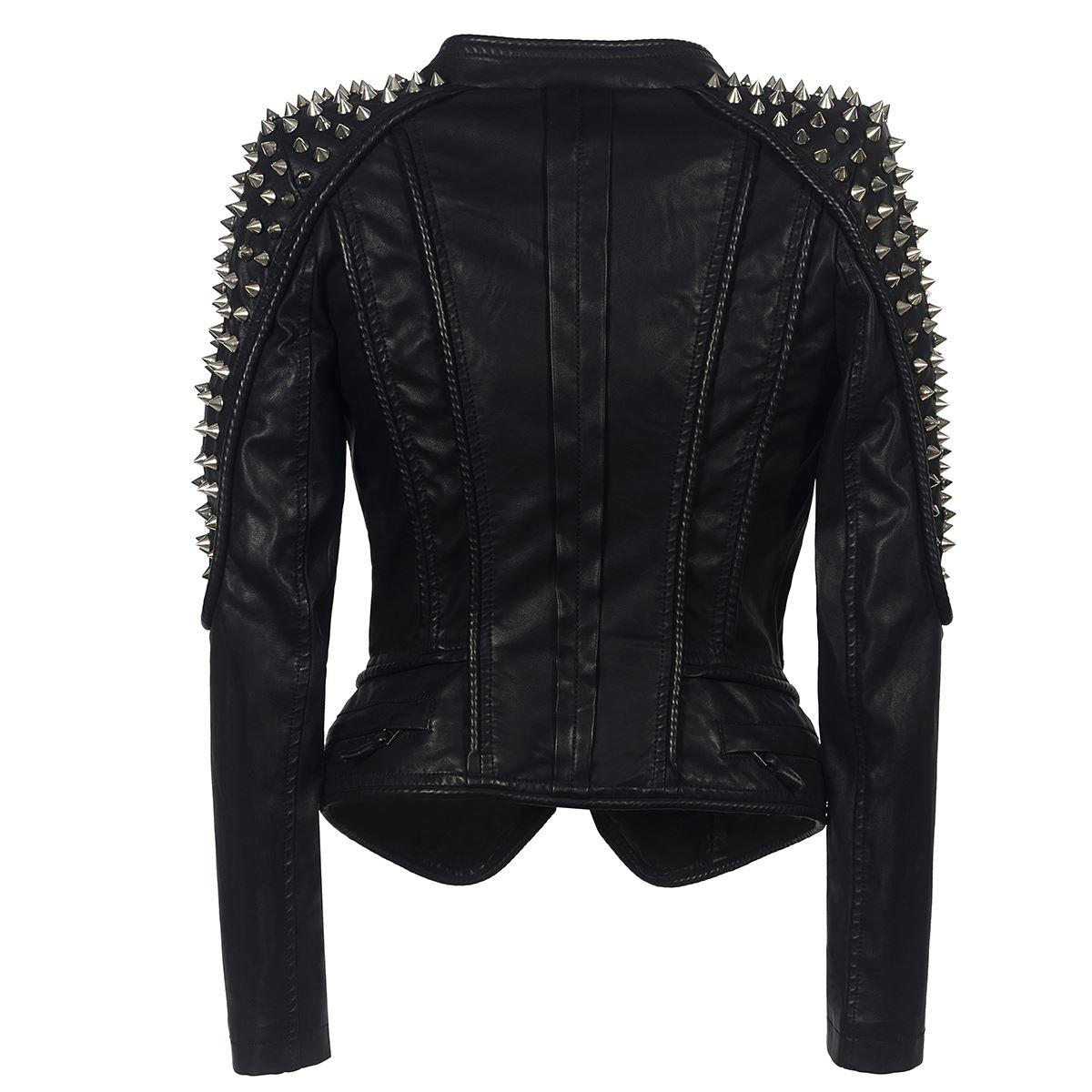 Punk Rivet faux leather PU Jacket Women fashion rose Winter AutumnMotorcycle Jacket Black faux leather Coat Outerwear Punk