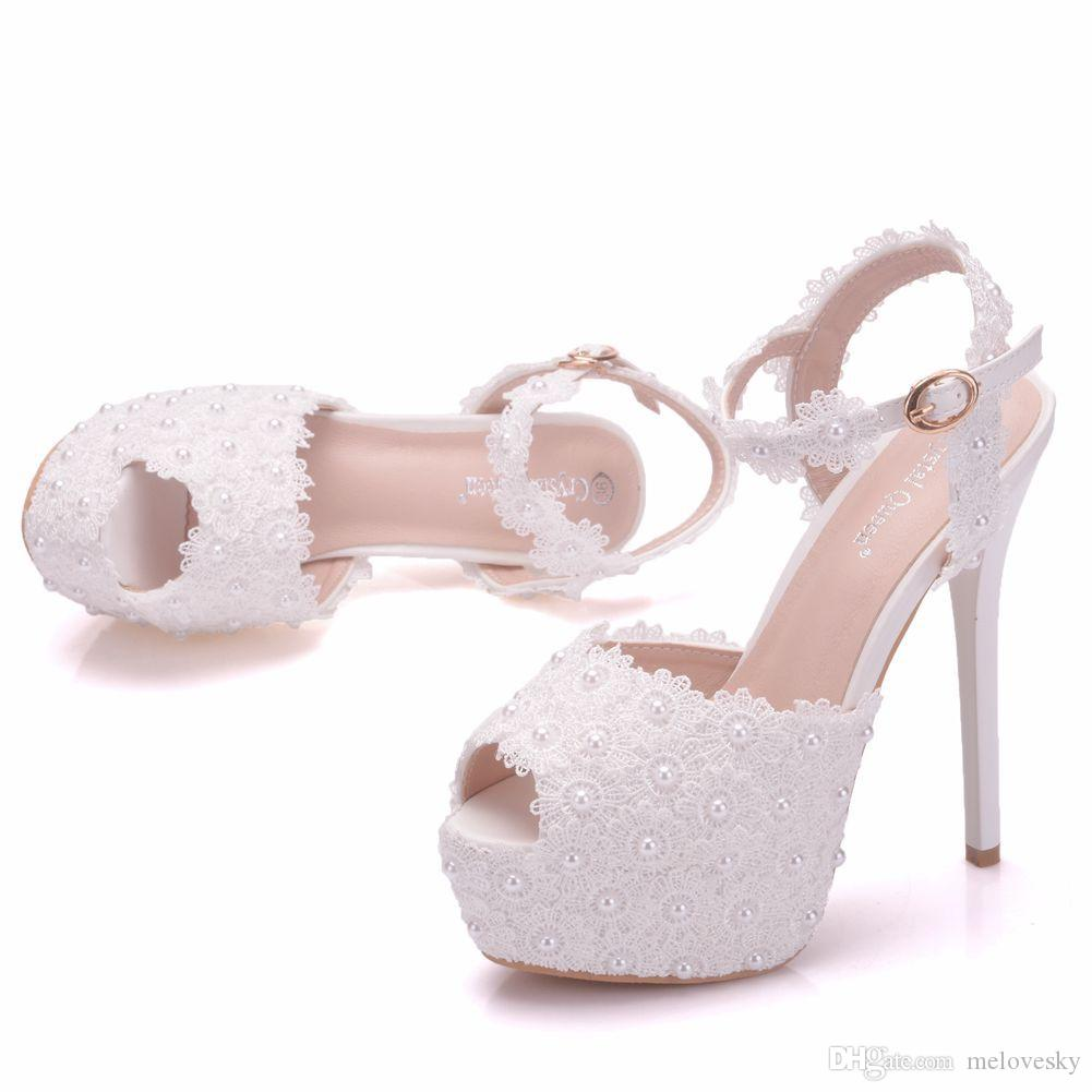 1b650a54c5 New white lace flowers buckle peep toe shoes for women high heels fashion  stiletto heel wedding shoes Platform pearls Bridal sandals