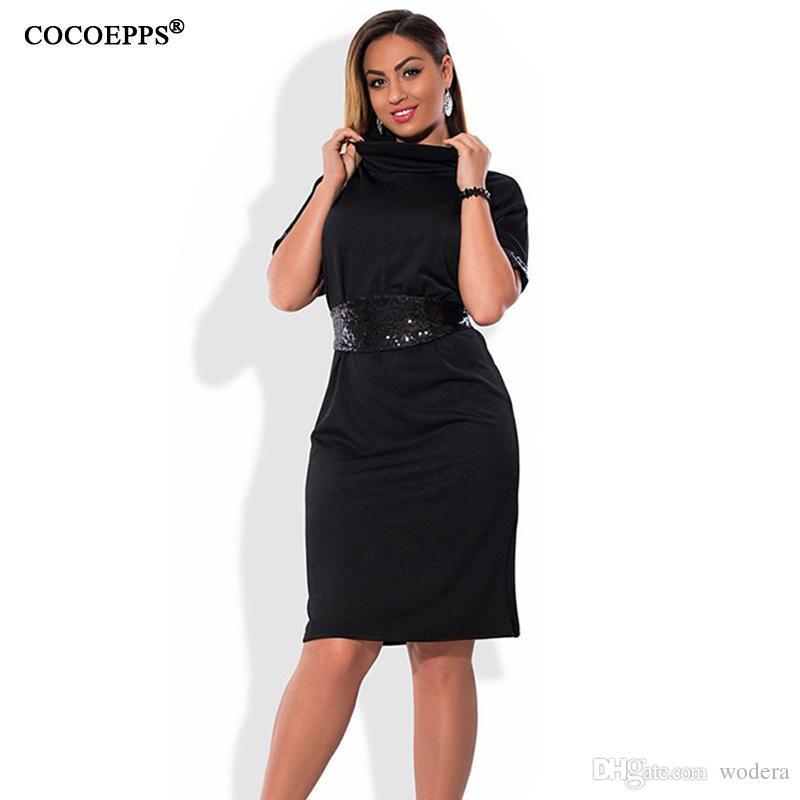 fd4057a9b334 Wholesale- COCOEPPS Fashion casual Sequins women dresses big sizes  Turtleneck Dress plus size women clothing 5xl 6xl Short sleeve dress