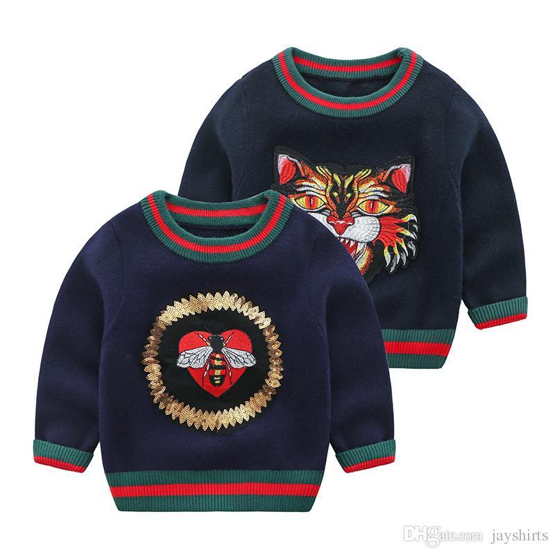 51b65af7d Autumn Winter Kids Cashmere Sweater Fashion Striped Tiger Head ...
