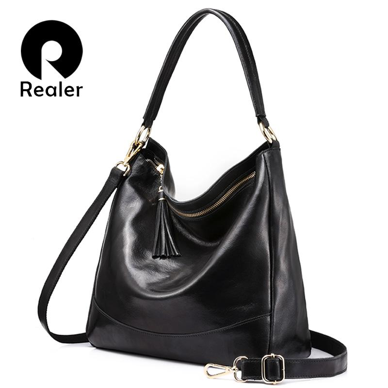 ad34f9a059e8 REALER Brand Women Leather Handbags Female Genuine Leather Shoulder Bag  Large Hobos Tote Bag With Tassel Black Brown Red Green Leather Satchel  Ladies Bags ...
