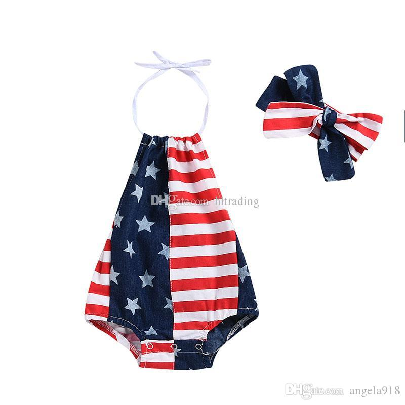 16cab39f6 2019 Baby Girls Boys American Flag Rompers 4th July Star Stripes ...