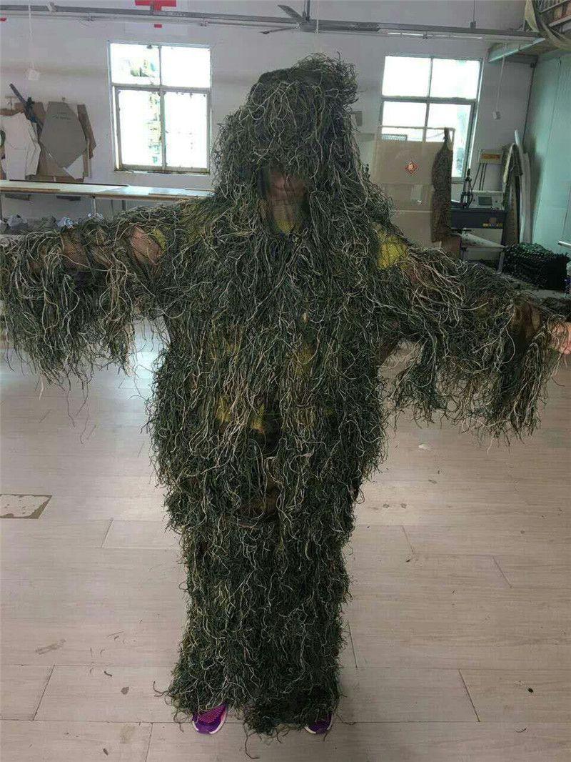 Jagd Woodland 3D Bionic Leaf Verkleidung Uniform CS Camouflage Anzüge Set Sniper Ghillie Anzug Jungle Train Jagd Tactical Sweaters MK317