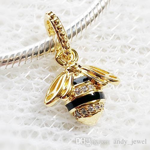 Printemps 18ct sterling plaqué or perles d'argent Charms Queen Bee Pendentif Fits Bijoux Europe Style Pandora Bracelets Collier 367075EN16