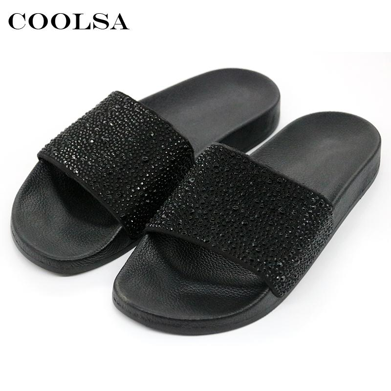 57f7772ca COOLSA Hot Summer Women Slippers Rhinestone Bling Slides Flat Soft Home Flip  Flops Female Sparkling Crystal Shoes Beach Sandals Leather Boots For Women  ...