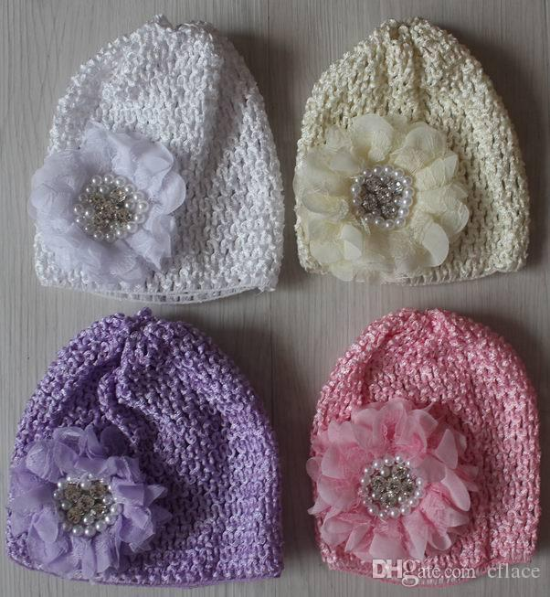 20pcs elastic knit crochet hat with 8cm rhinestone pearl chiffon lace fabric flower for baby girls hair supplies