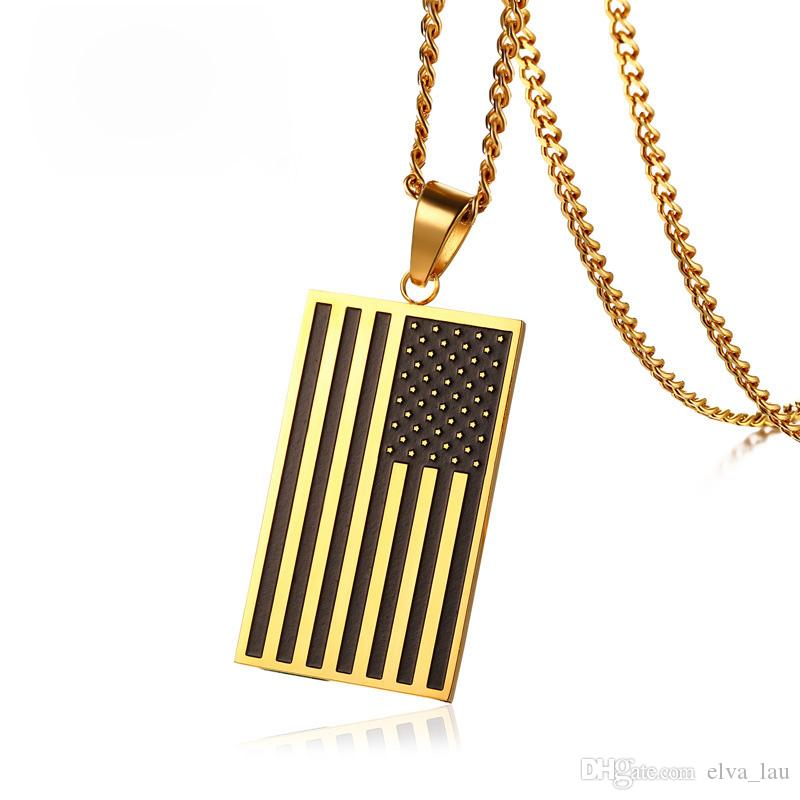 and stone mens wholesale chain jewelry silver stripes necklace american tag gold pendant flag stars usa dog classical product rectangle freedom patriot