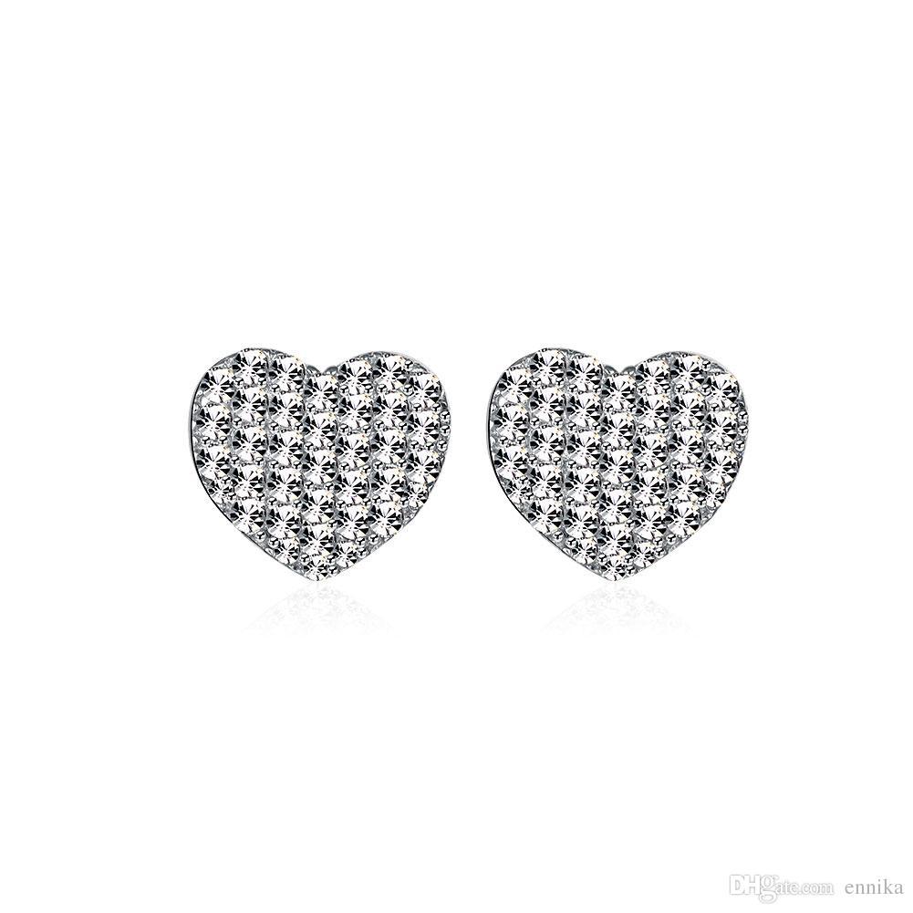 Real 925 Sterling Silver Stud Earrings , Mark 925 Party Heart Shaped Simple Earrings Zircon e057