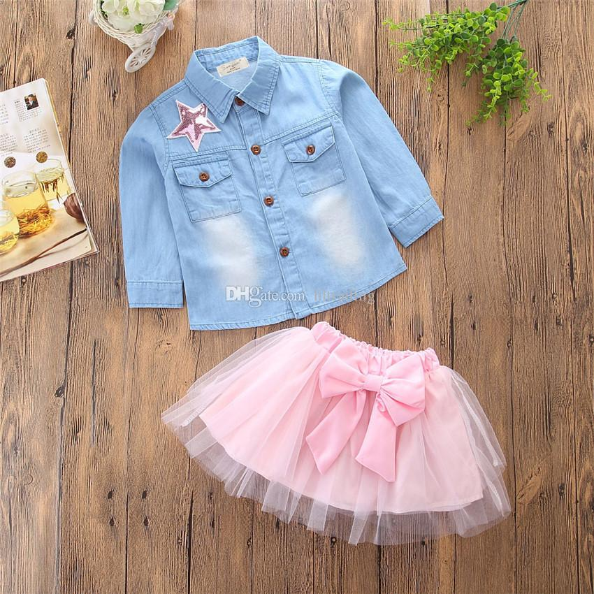 Baby Sequin five-pointed star outfits INS girls Denim shirt+TuTu bow skirts kids Clothing Sets C3526
