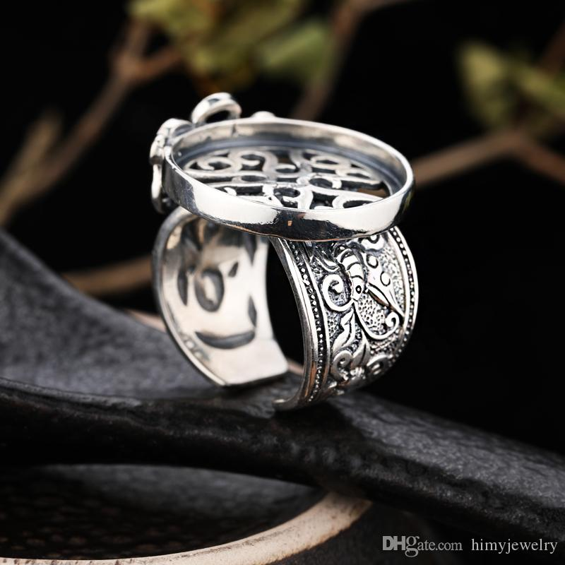 Ince Gümüş 925 Ayar Gümüş Retro Vintage Yüzük Yarı Dağı Yüzük Nişan Düğün Parti Güzel Takı Ayarı