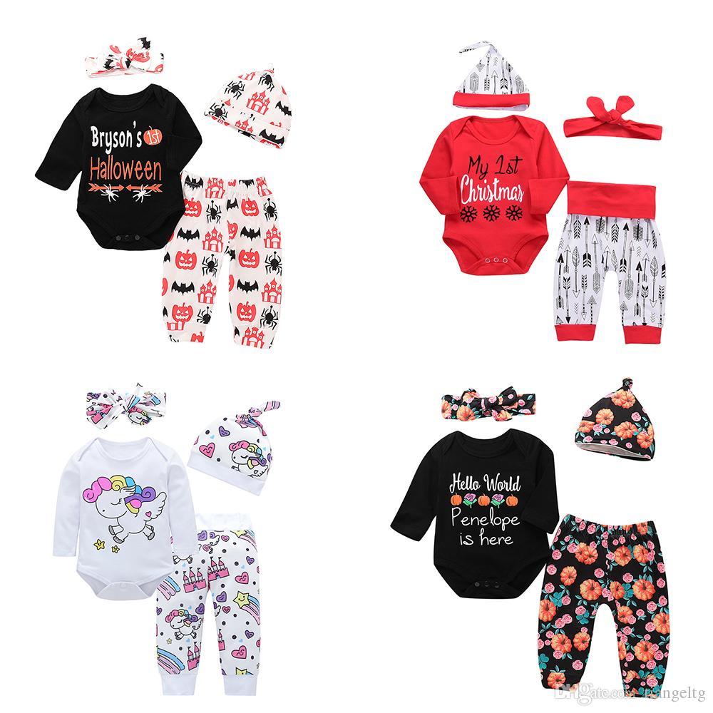 timeless design 17151 b82c7 Neugeborenes Baby Kleidung Sets 87 Designs Halloween Kürbis Mein erstes  Weihnachten Einhorn Dinosaurier Kleine Schwester Bruder Mann Mamas Junge ...