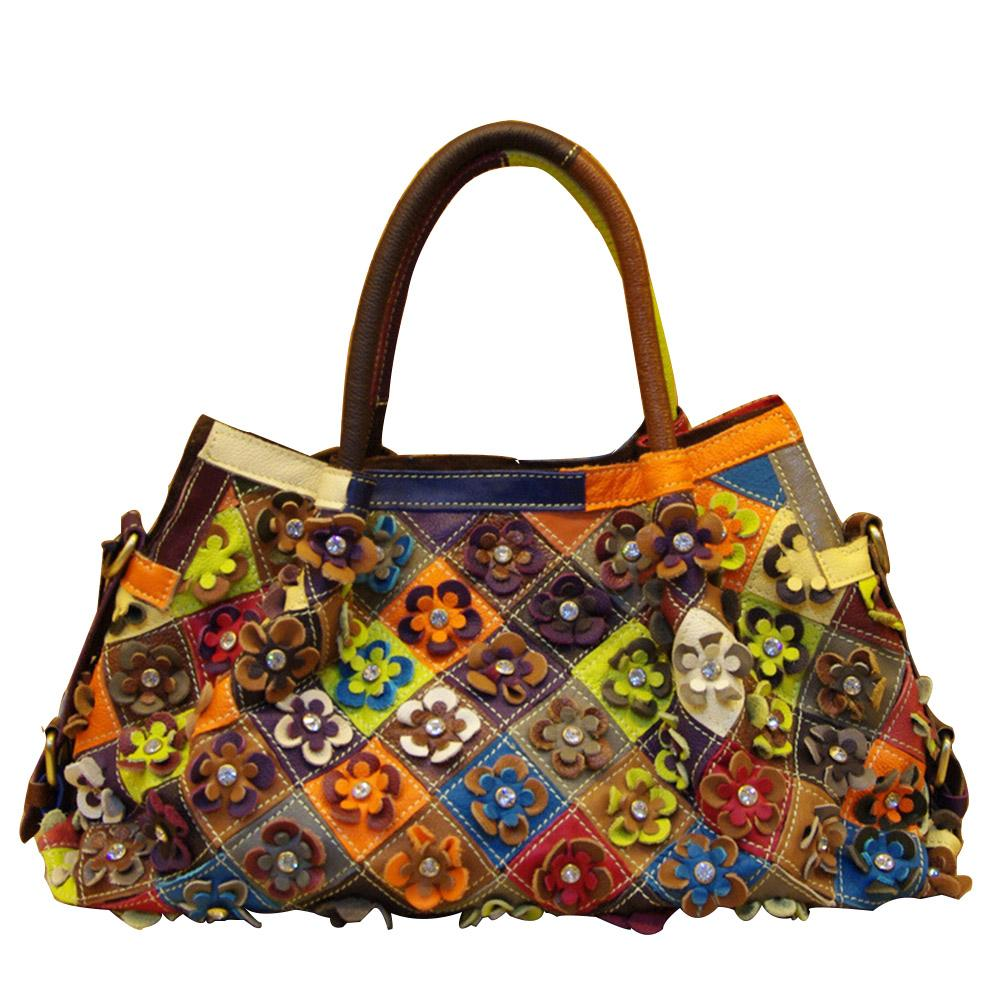 b2cfea5ec6c5 Caerlif 2016 Fashion Real 100% Genuine Natural Leather Patchwork Handbags  Flowers Women Messenger Bag Purse Colorful Big Totes Wallets For Women  Ladies ...