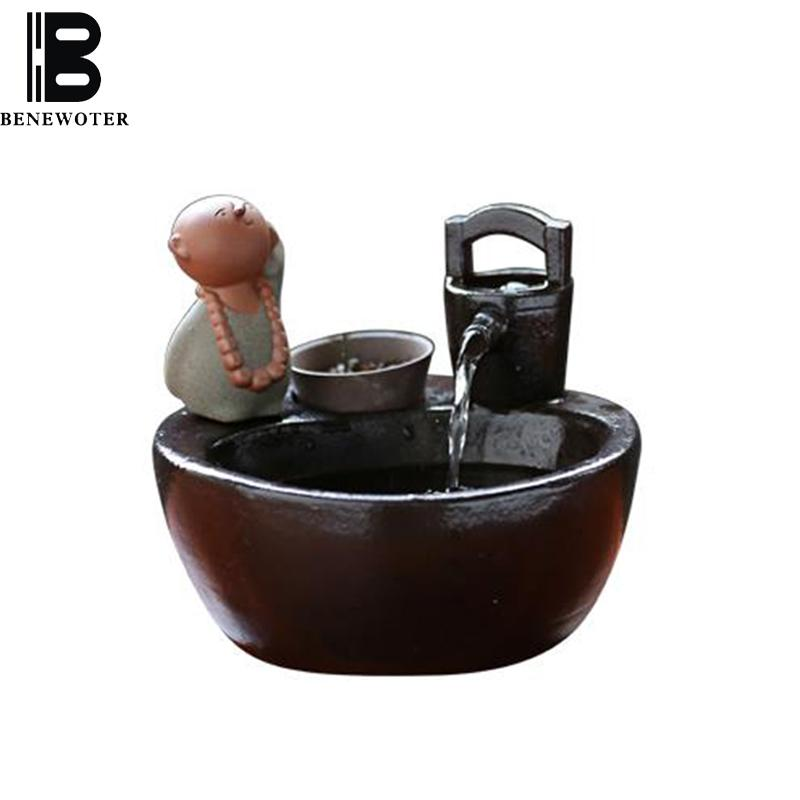 2018 110/220v Ceramic Flowing Water Fountain Office Desktop Fish Tank  Lovely Little Monk Zen Ornament Lucky Feng Shui Home Decoration From Yong8,  ...