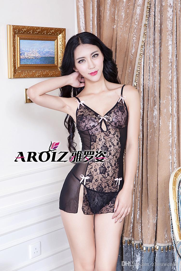 2bde2926b53336 Madura beleza feminina vida privada sexy pijama transparente ultra-fino  rendas cueca nova sexy pijama T calções atacado