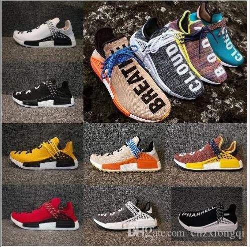 sports shoes e927c efc25 Compre 2018 Comercio Al Por Mayor De La Raza Humana Hu Trail Zapatos Para  Correr Hombres Mujeres Pharrell Williams Amarillo Núcleo De Tinta Noble  Negro Rojo ...