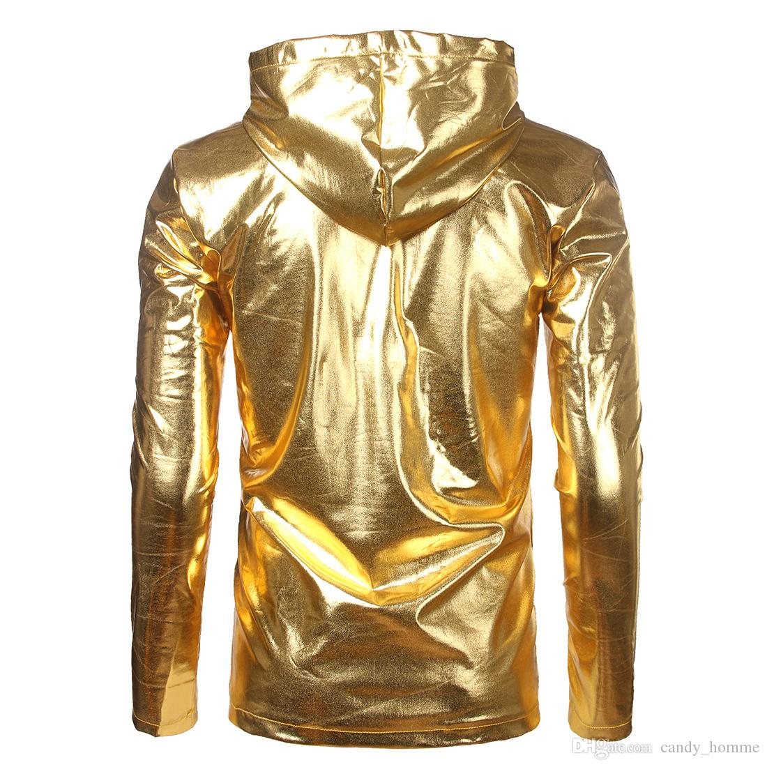 Metallic Gold T shirts Men Super Long Sleeve T Shirt Hip Hop Hooded Casual T-Shirts Nightclub Styles T Shirts