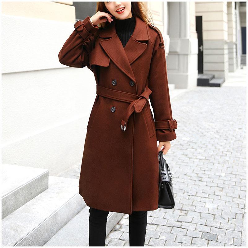 innovative design 3ca6a 3fb66 Cappotto lungo in lana donna inverno inverno 2018 femminile doppio petto  elegante e sottile cintura regolabile caldo da donna