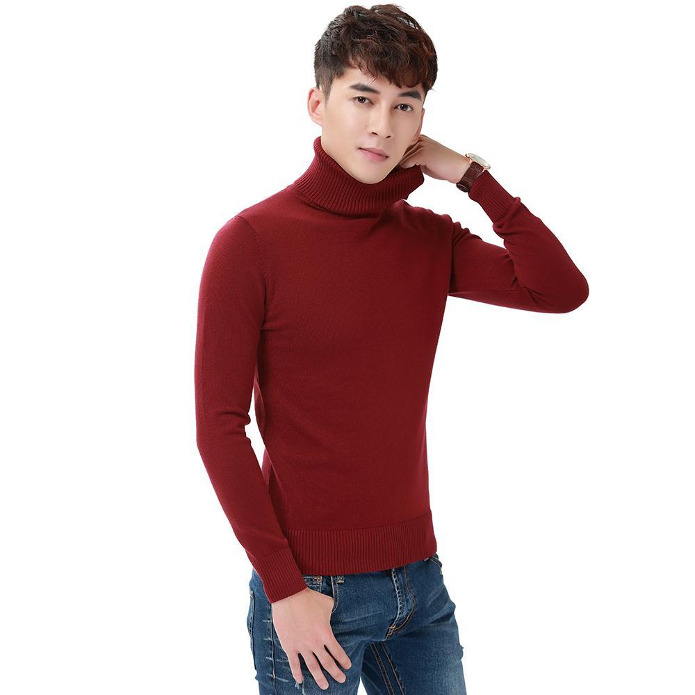 best loved 48ccf 22d48 Harajuku uomo tinta unita dolcevita allentato breve ispessimento termico  retro maglione maschio bello maglia maglione e pullover