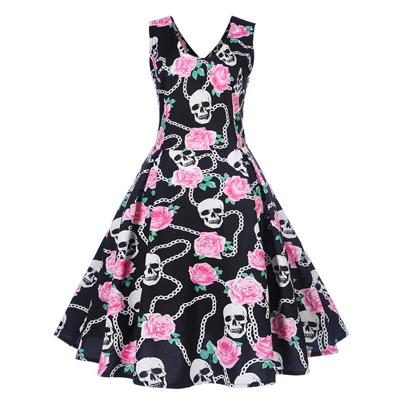 a18c3fb149cf Women Gothic Dress Floral Skull Print Sleeveless Vintage Dress Backless A  Line Cute Elegant Party Beach 2018 Summer Goth Dresses Dresses Floral Short  To ...