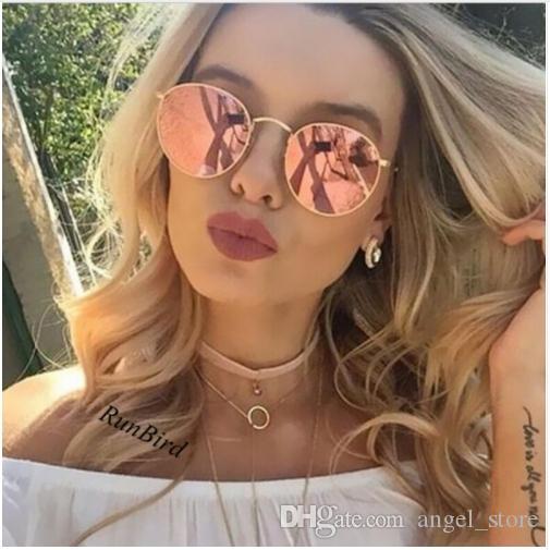 3cff8c82b80d1 Compre Luxo Rodada Óculos De Sol Das Mulheres Dos Homens Designer De Marca  Retro Vintage Espelho Óculos De Sol Para As Mulheres Senhoras Óculos De Sol  ...