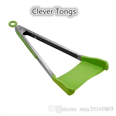 clever tongs 2 in 1 kitchen spatula and tongs non stick silicone clever tongs 2 in 1 kitchen spatula non stick silicone online with 979piece on - Kitchen Tongs