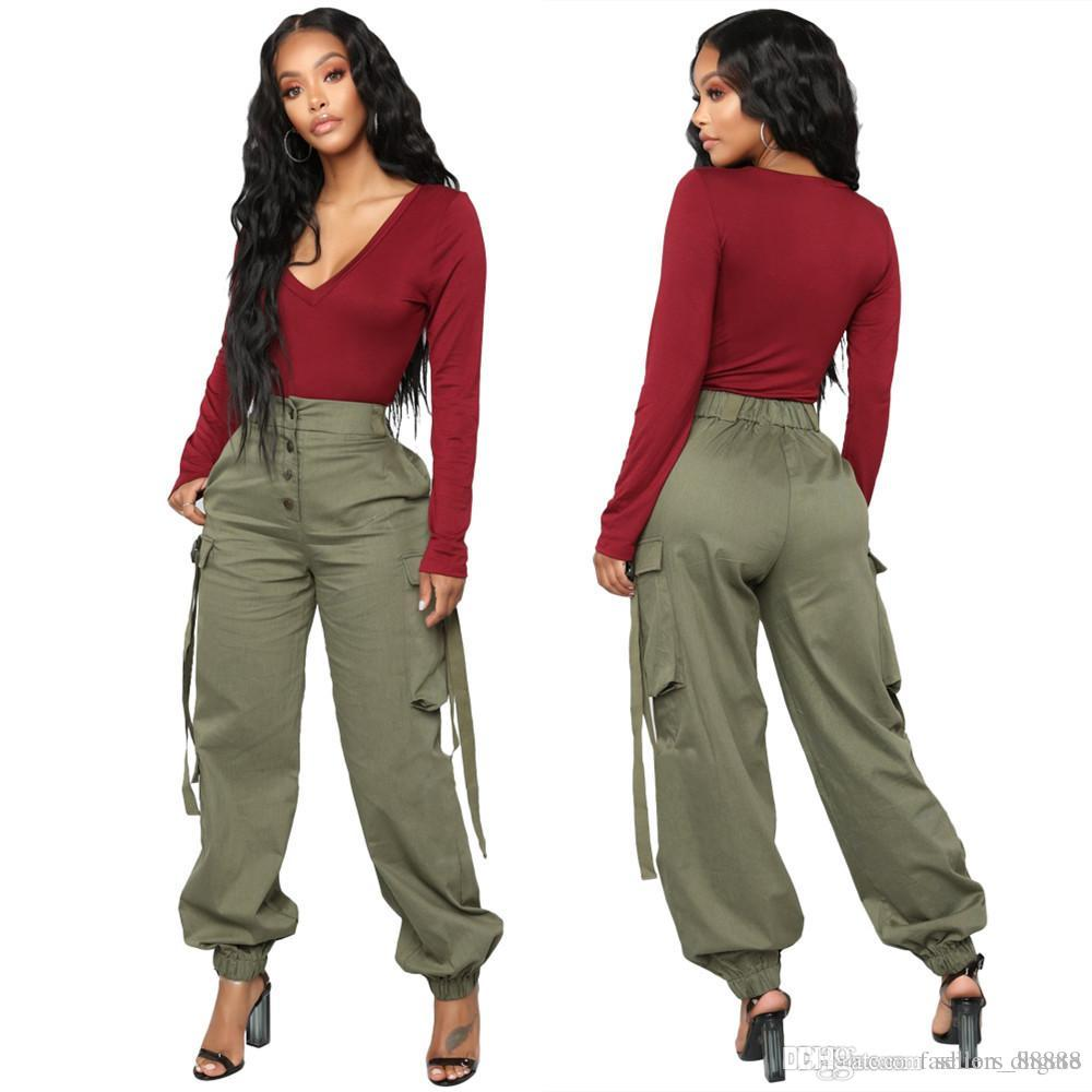 e144332021ad Side Big Pockets Casual Solid Cargo Pants Women Button Up Empire ...