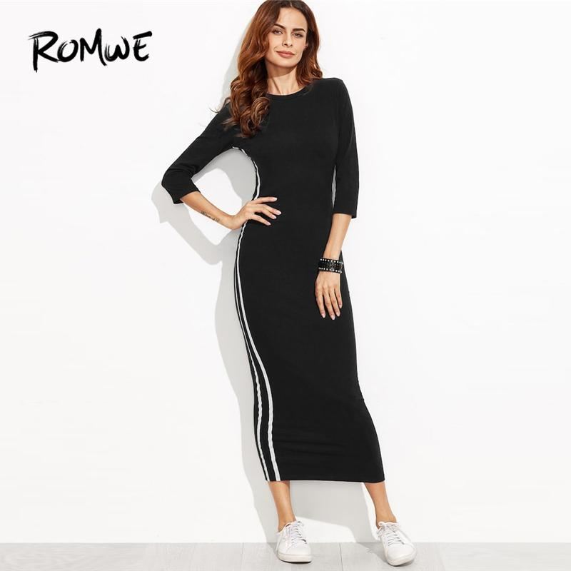 6b72eae9d0b0 Black Striped Side Seam Fitted Tshirt Dress Women Clothes 2018 Autumn  Casual 3 4 Sleeve Clothing Female Slim Long Dresses Black And Gold Dresses  For Juniors ...